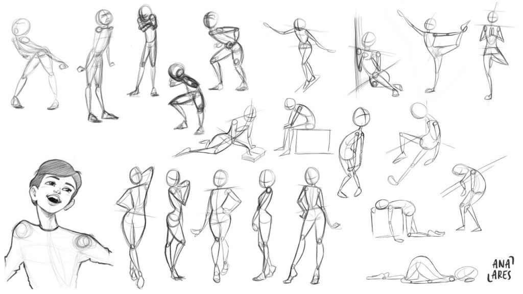 Bocetos de poses de Ana Ares