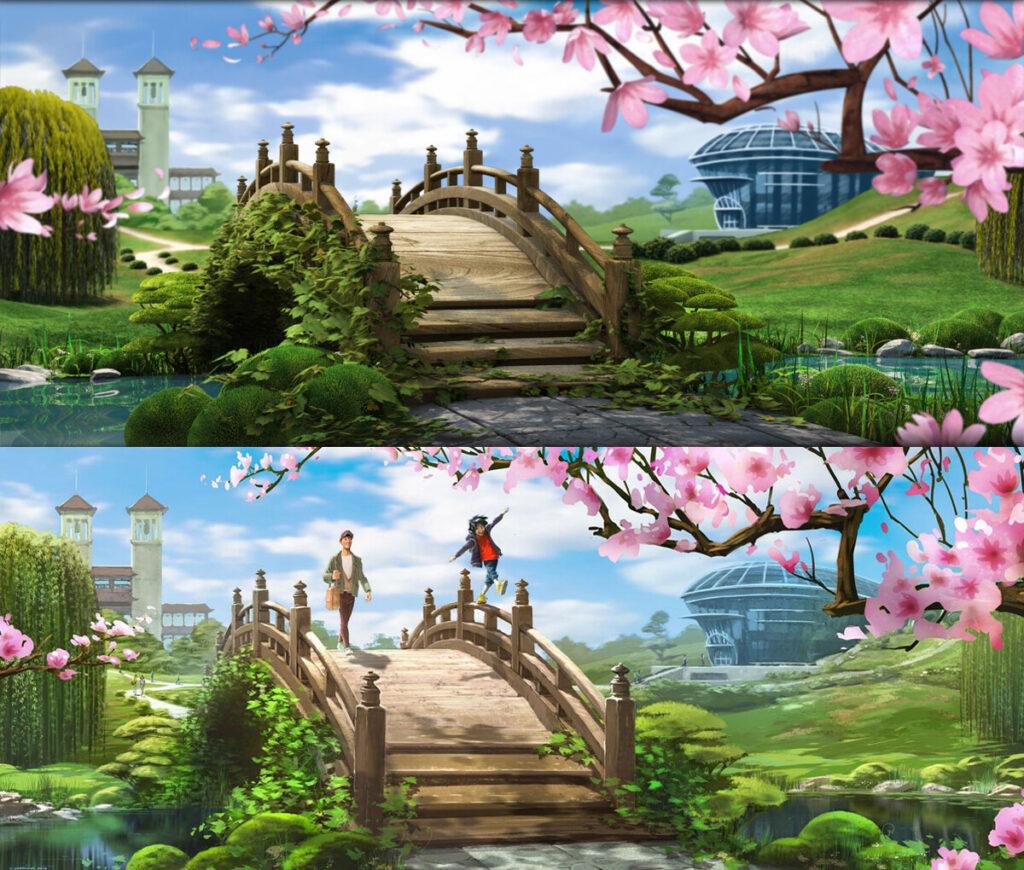 Comparativa de escenario 3D con concept 2D